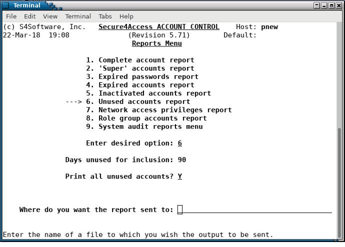 Secure4Access - reports menu