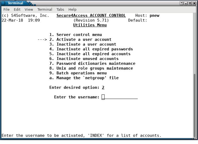 Secure4Access - utilities menu