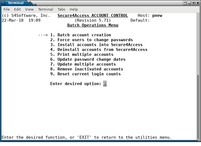 Secure4Access - batch operations menu