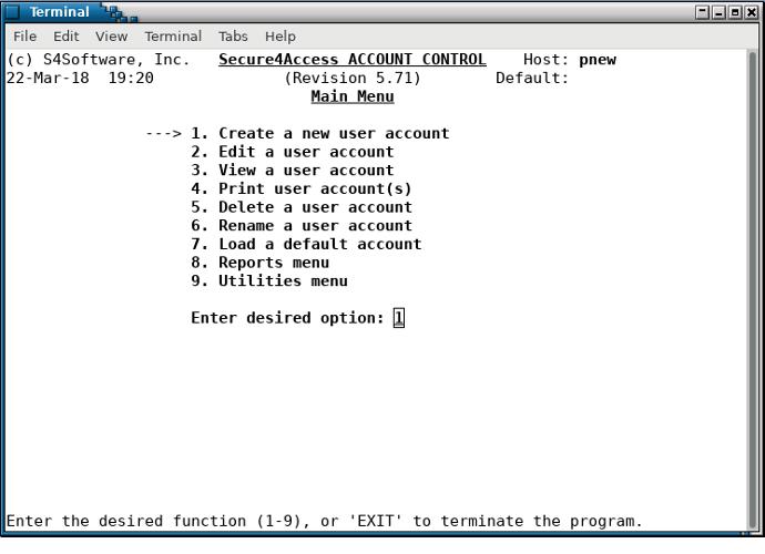 Secure4Access main menu - command line mode