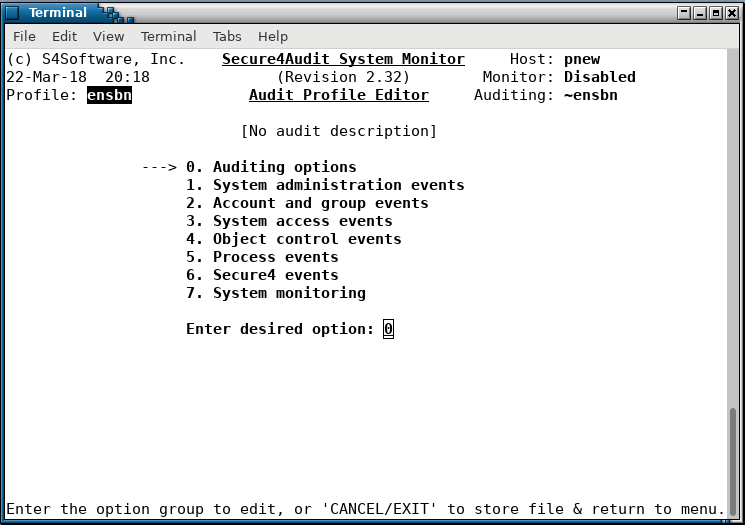 Secure4Audit - audit profile main selector page