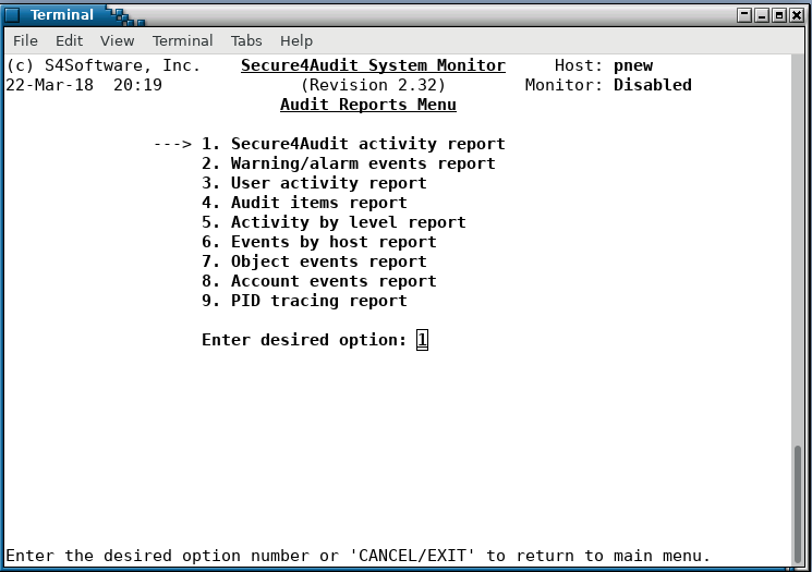 Secure4Audit - audit reports menu