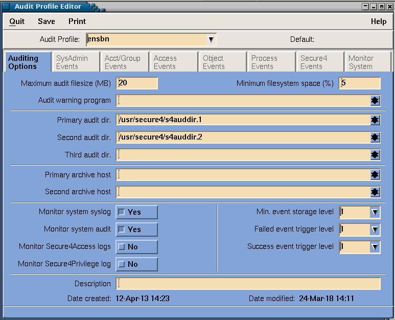 Secure4Audit - Primary Auditing Options Screen