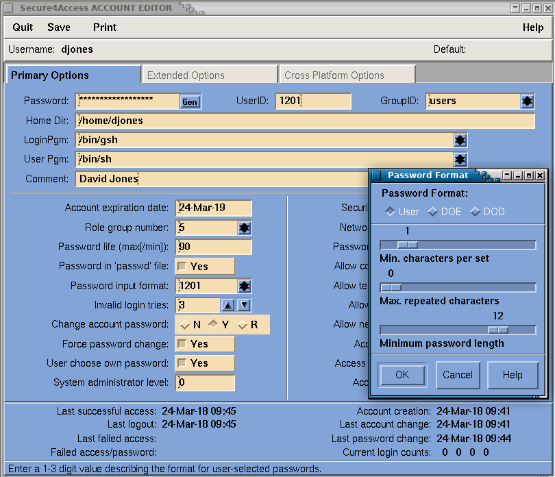 Secure4Access - Primary options editor