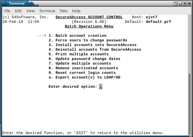 Secure4Access batch menu