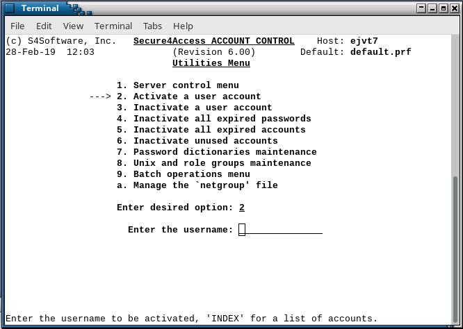 Secure4Access utilities menu